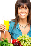 Woman, juice, vegetables and fruits Stock Photos