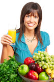 Woman, juice, vegetables and fruits Royalty Free Stock Photography
