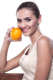 Woman with juice on white background.  Concept vegetarian dietin royalty free stock image