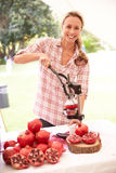 Woman Juicing Fresh Pomegranates At Farmers Market Stall Stock Images