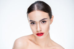 Woman with juicy red lips Stock Images