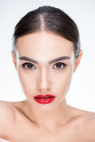 Woman with juicy red lips Royalty Free Stock Image