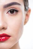 Woman with juicy red lips Royalty Free Stock Photography