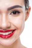 Woman with juicy red lips Stock Image