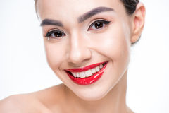 Woman with juicy red lips Royalty Free Stock Photo