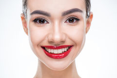Woman with juicy red lips Stock Photo