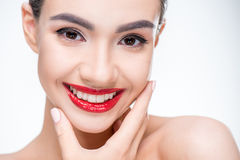 Woman with juicy red lips Stock Photos