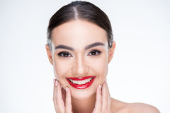 Woman with juicy red lips Royalty Free Stock Images