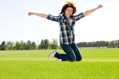 Woman in jump Stock Photo