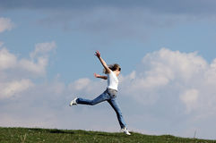 Woman jump. Woman relax in nature...moment of happiness Royalty Free Stock Image