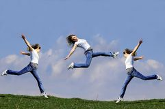 Woman jump. Moment of happiness....some parts generated in ps...free feel stock images