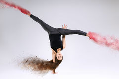 Woman in jump. Frozen motion. Royalty Free Stock Image