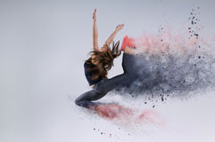 Woman in jump. Frozen motion. Stock Photos