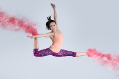Woman in jump. Frozen motion. Stock Photography