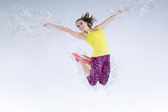 Woman in jump. Frozen motion. Stock Images