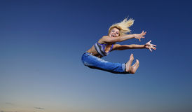 Woman jump at night Royalty Free Stock Images