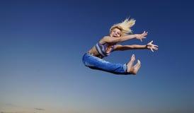 Woman jump at night Royalty Free Stock Images