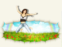 Woman jump out of wall Royalty Free Stock Photo