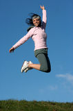 Woman jump outdoors Royalty Free Stock Photos