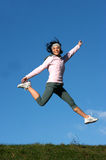 Woman jump outdoors Royalty Free Stock Photo