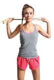 Woman with  jump rope Royalty Free Stock Images