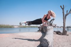 Woman Jump on Tree Log Near Body of Water Under Blue Sky Royalty Free Stock Photo