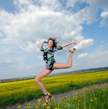 Woman  jumped Stock Photography