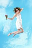 Woman jumping Stock Image
