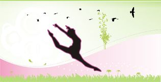 Woman jumping. Woman abstract  jumping composition Royalty Free Stock Images