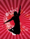 Woman jumping. Happy jumping woman on red circle background Royalty Free Stock Photography