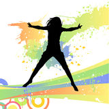 Woman jumping. Vector design of a woman jumping silhouette and grunge elements Royalty Free Stock Photography