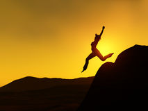 Woman jumping. The silhouette of a woman jumping from a cliff Royalty Free Stock Photos