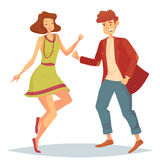 Woman jumping at dancefloor and man dancing. Man in jacket and trousers dancing with woman in skirt or dress and necklace or bead. Lady and teenager at disco or Stock Photo
