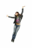The woman jumping from delight. The girl jumping from delight on a white background Stock Photography