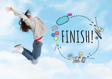 Woman jumping and Finish text with drawings graphics Royalty Free Stock Photo