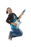 Woman jumping with a guitar Stock Photo