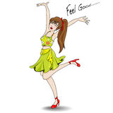 Woman jumping happily rejoice Stock Images