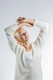 Woman jumping with joy. This image has attached release Royalty Free Stock Images
