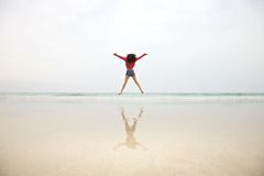 Woman jumping on mist sky Royalty Free Stock Photos
