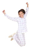 Woman jumping morning fresh in pajamas Royalty Free Stock Photos