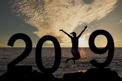 Woman jumping New Year 2019. New year concepts royalty free stock photos