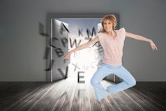 Woman jumping and opening arms Royalty Free Stock Photos