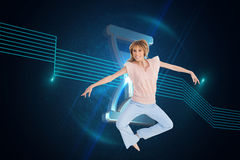 Woman jumping and opening arms Royalty Free Stock Images