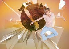 Woman jumping and opening arms Royalty Free Stock Photography