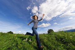 Woman jumping outdoor Royalty Free Stock Photo