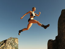 Woman jumping over the pass stock images