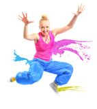 Woman jumping with paint isolated on white Stock Photo