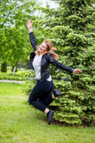 Woman jumping on path Royalty Free Stock Images