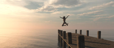Woman jumping. From the pontoon to ocean. This is a 3d render illustration Royalty Free Stock Photography