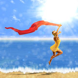 Woman jumping with scarf on beach. 3d woman jumping with red scarf on beach background Royalty Free Stock Photo